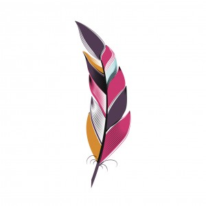Large colored feather bright. Boho style on white background